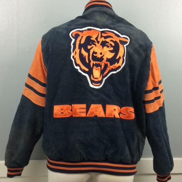 uk availability 36204 d8f6c NFL Chicago Bears Suede Leather Jacket Sz L